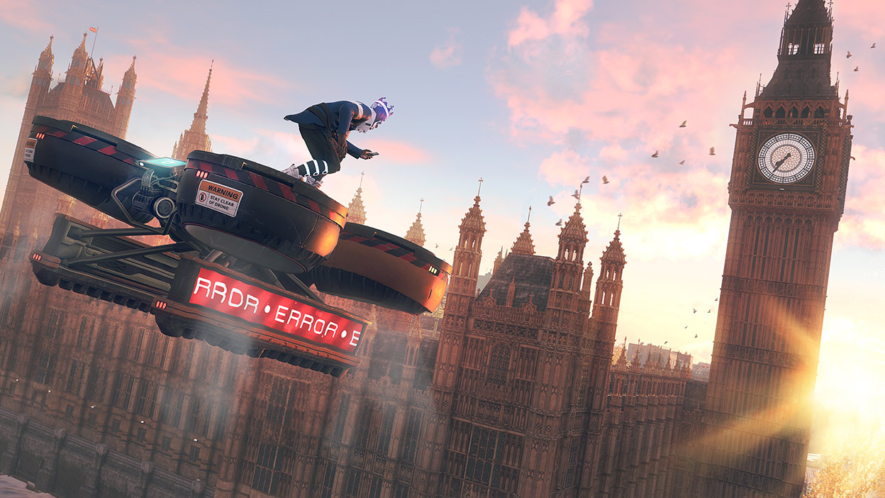 Character on a large drone flying towards Big Ben in Watch Dogs: Legion