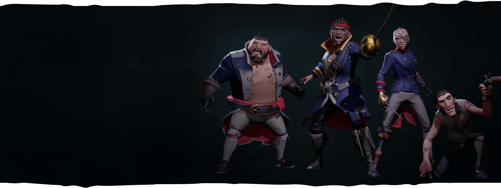 Four Crew Mutineer characters in action pose