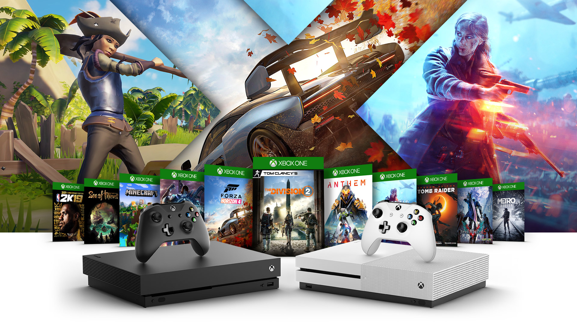 Zijaanzicht van de Xbox One X en Xbox One S en Xbox One S All-Digital Edition met daaromheen foto's van de verpakkingen van Crackdown 3, Sea of Thieves, Minecraft, Madden 19, 2K19, Forza Horizon 4, Fallout 76, Battlefield Five, Shadow of the Tomb Raider, PlayUnknown Battlegrounds en State of Decay 2