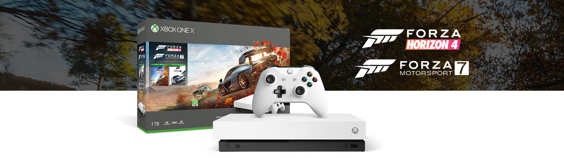 Front view of Xbox One X Robot White Special Edition Forza Horizon 4 Bundle with product box