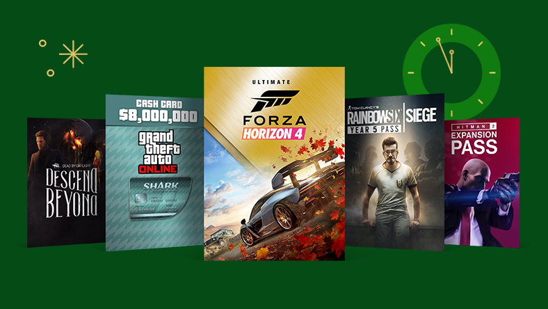 A collection of game art from games that are part of the Countdown Add-on sale, including Forza Horizon 4 Ultimate edition, Tom Clancy's Rainbow Six Siege Year 5 Pass and Hitman 2 Expansion Pass.