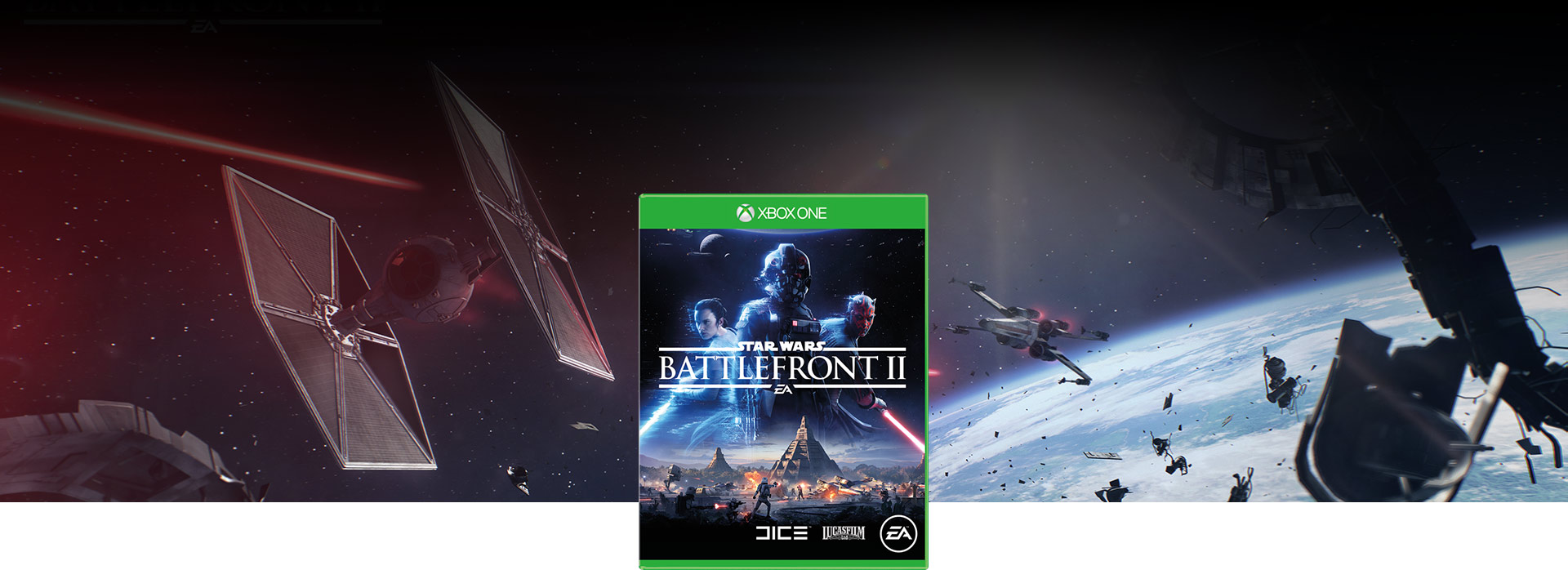 Star Wars Battlefront box shot and in the background an X-wing shoots at a TIE fighter in a galactic scale space battle