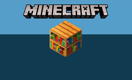 A bookcase in the form of a Minecraft block beneath the Minecraft logo