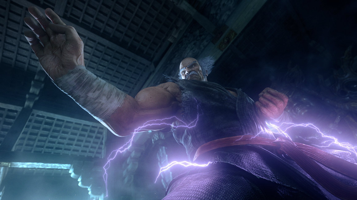 Character standing in a battle pose with lightning around him