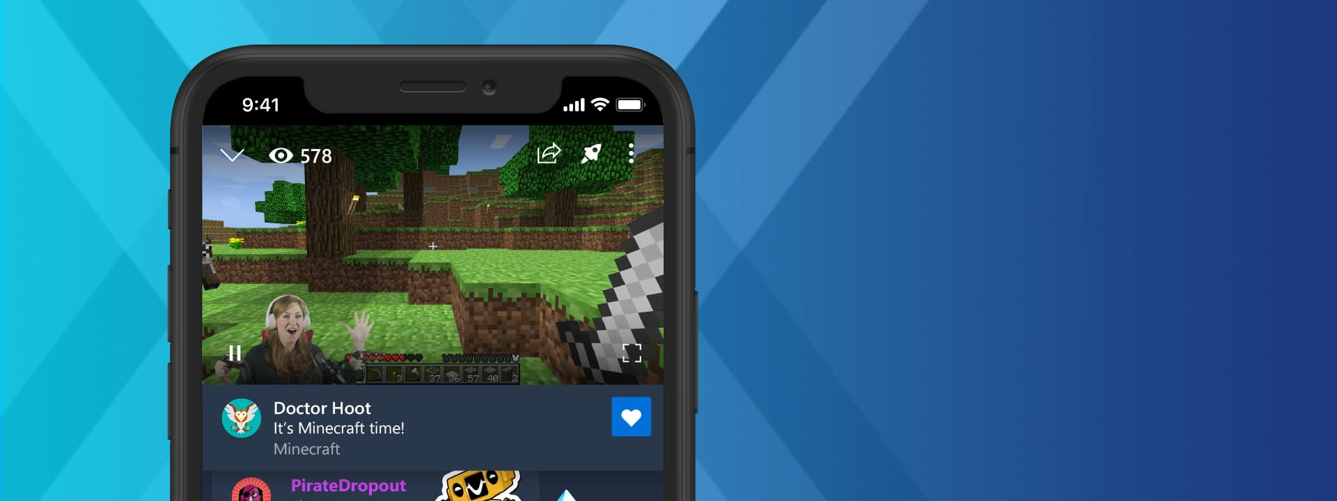 Mobile phone displaying a Minecraft Mixer stream on a blue background