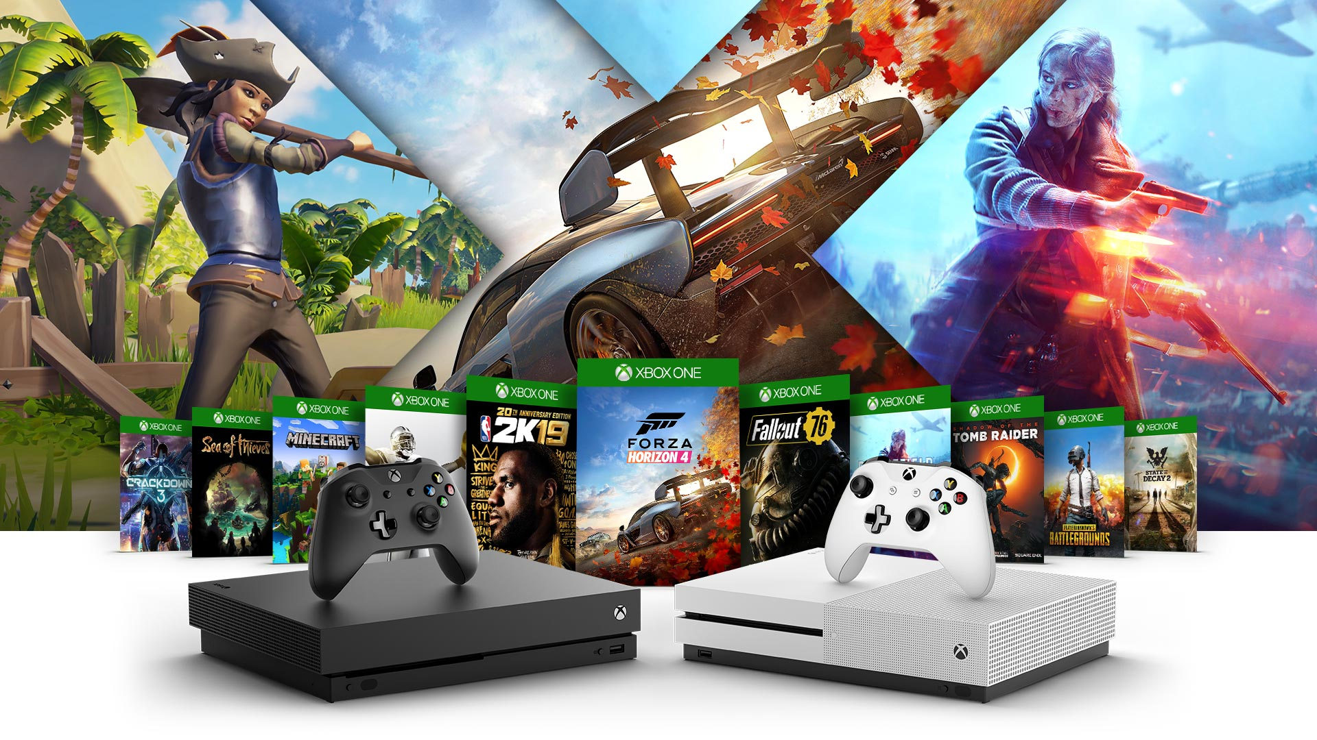 Side view of Xbox One X and Xbox One S surrounded by Crackdown 3, Sea of Thieves, Minecraft, Madden 19, 2K19, Forza Horizon 4, Fallout 76, Battlefield Five, Shadow of the Tomb Raider, PlayUnknown Battlegrounds and State of Decay 2 box shots