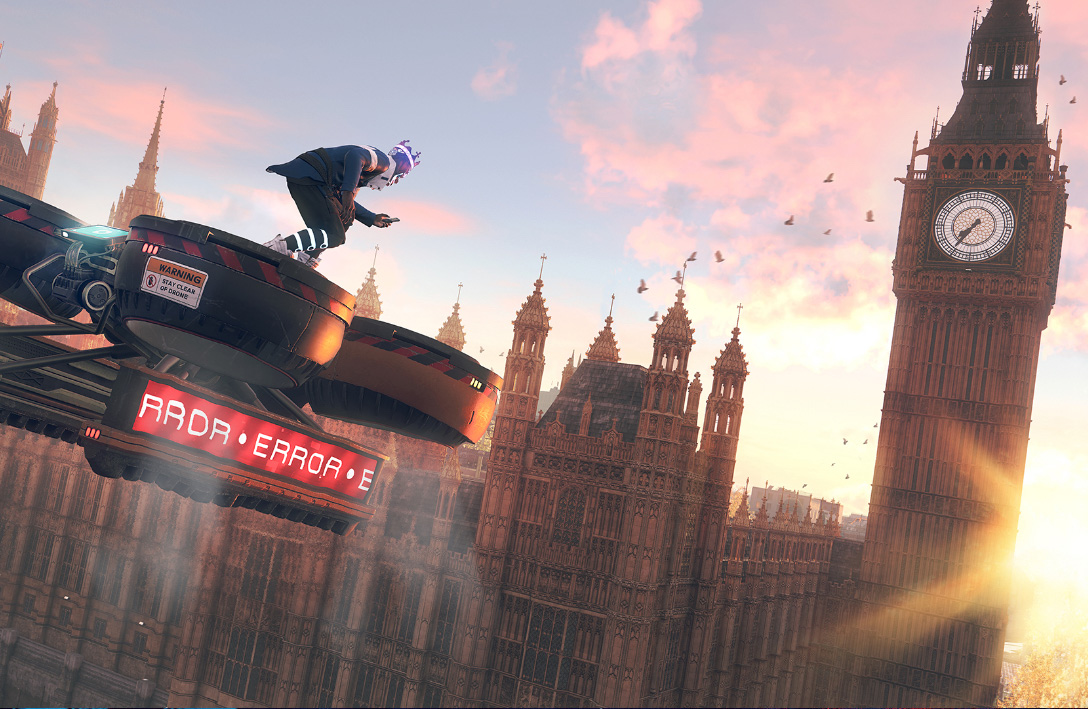 Watch Dogs character riding on top of a drone