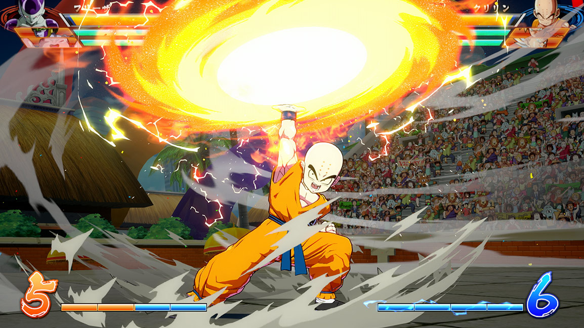 Krillin charges Destructo Disc