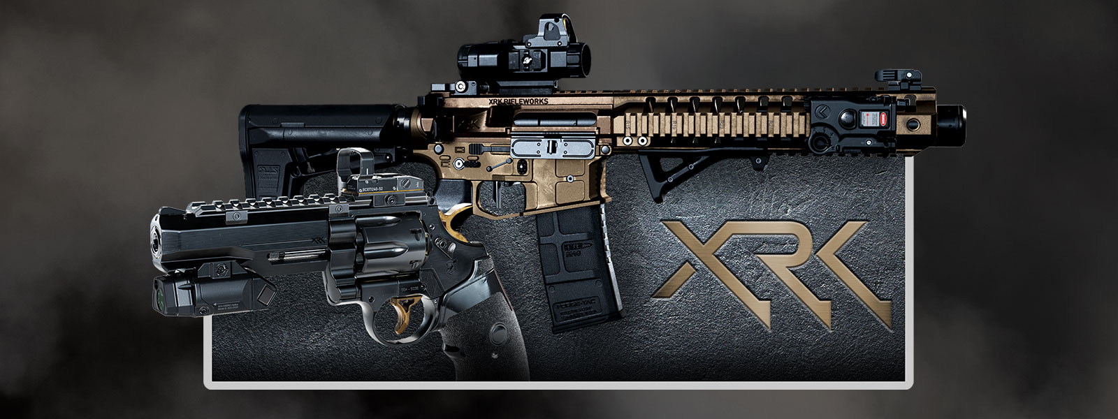 Sideview of two guns on top of a textured background and XRK logo