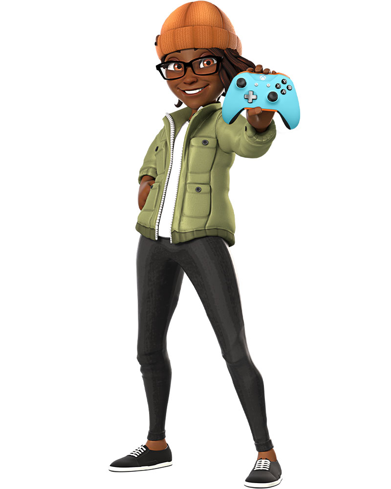 Xbox avatar of a black woman with an orange cap holding out a light blue Xbox controller