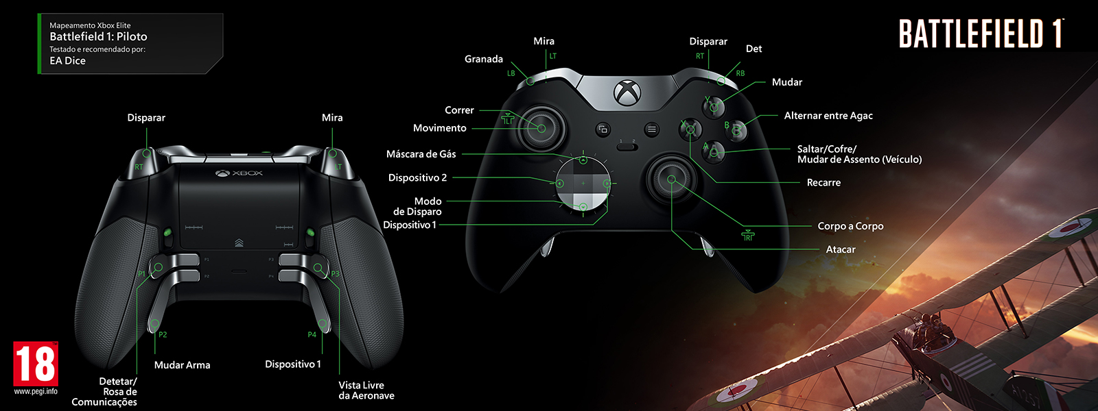 Mapeamento Elite para Battlefield 1 – Pilot