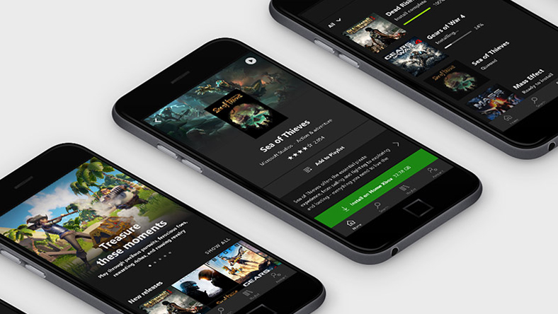 Three smartphones displaying the Xbox Game Pass app