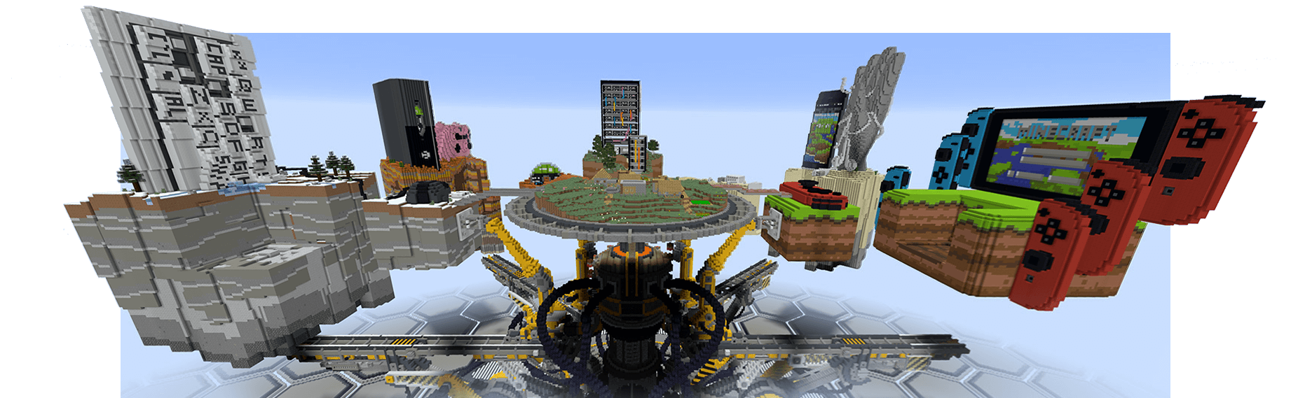 Minecraft togetherness machine, representing platforms where Minecraft is playable: PC, Xbox, mobile and Nintendo Switch.