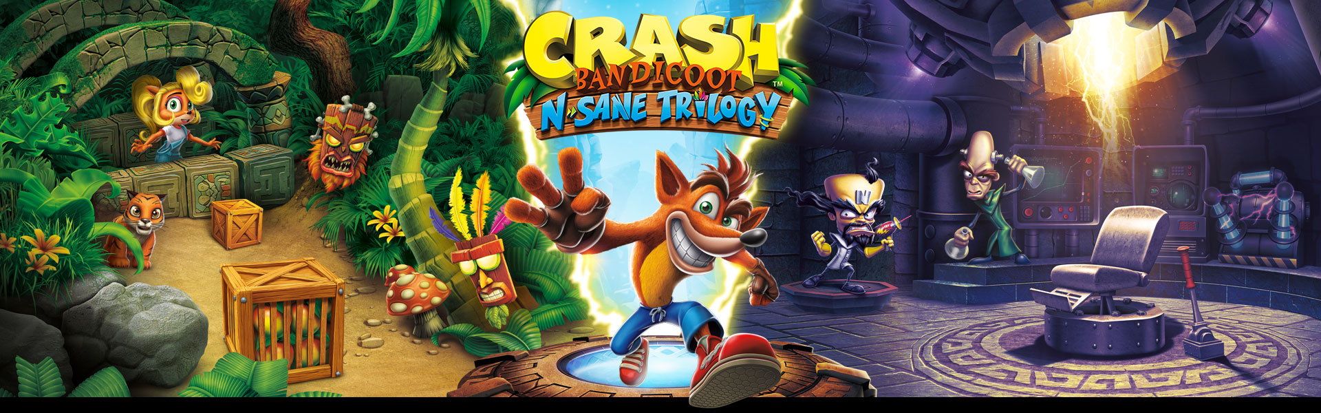 Crash Bandicoot Insane Trilogy, Crash steht zwischen Insanity Beach and Cortex Labor