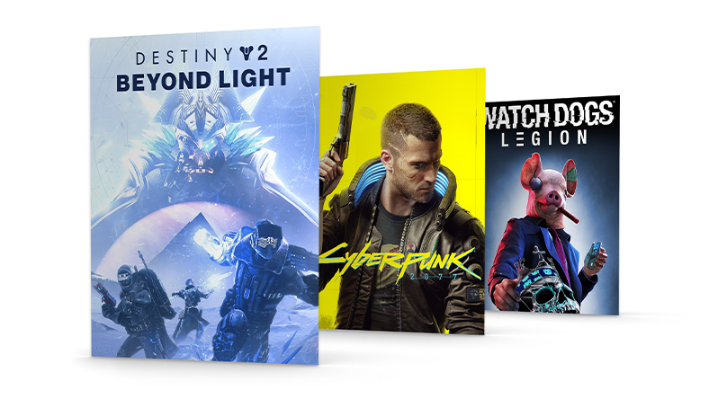 Box shots for Destiny 2: Beyond Light, Cyberpunk 2077, and Watch Dogs: Legion