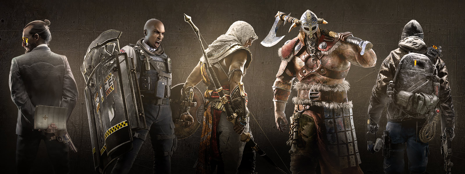 Characters from Farcry 5 Rainbow Six Siege Assassins Creed For Honor and the Division