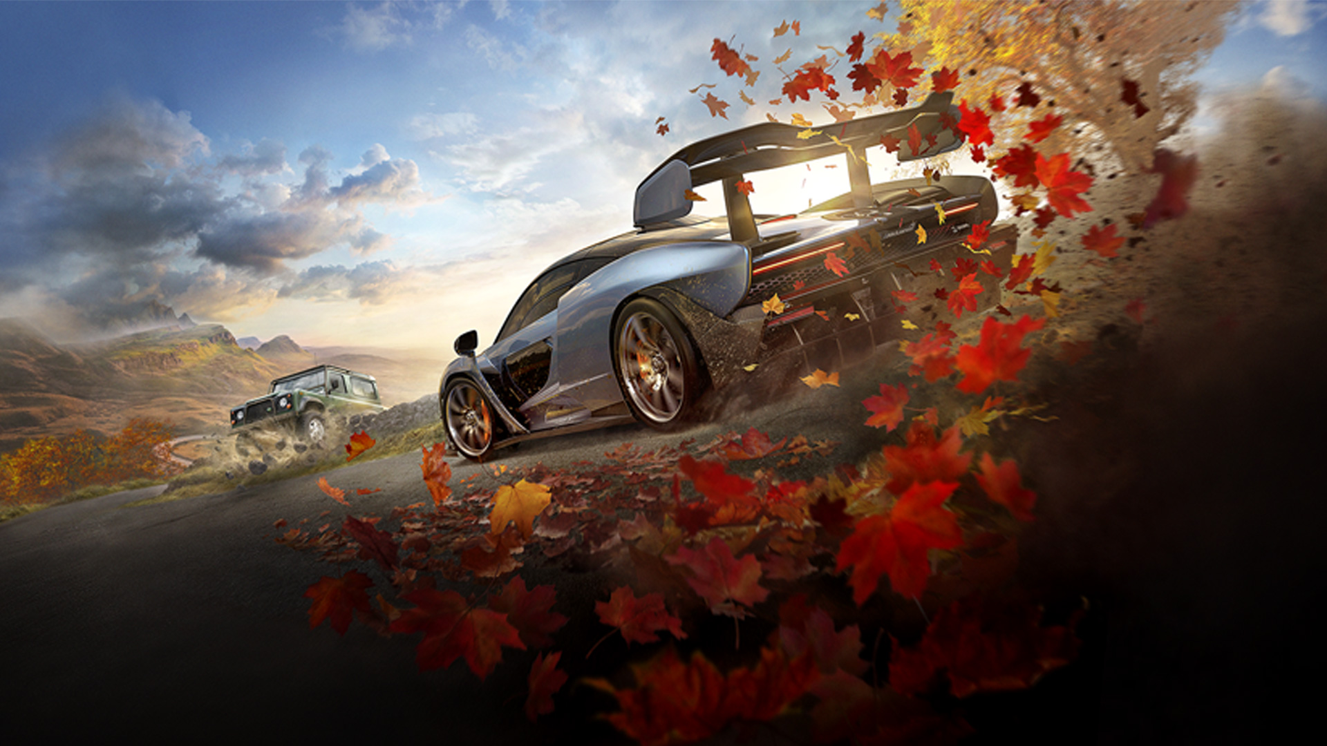Game art for Forza Horizon 4, showing a sports car racing through autumn leaves
