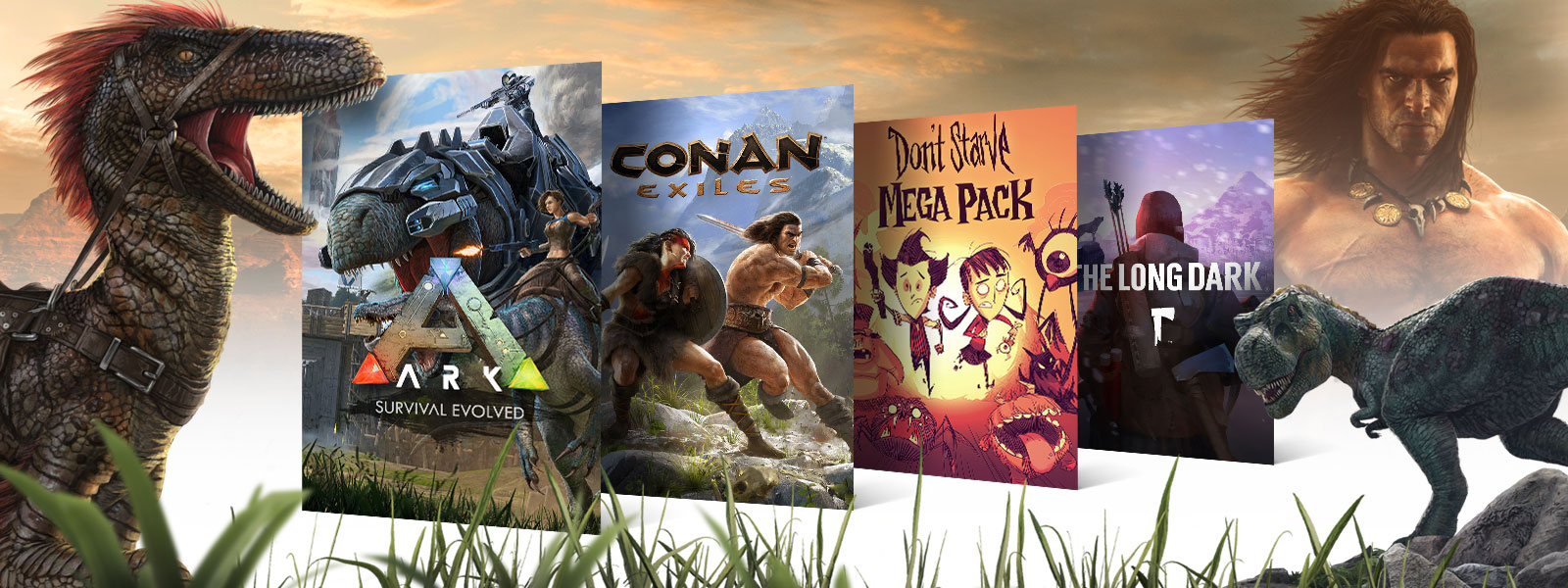 A collage of creatures and box art for Xbox One survival games on sale. ARK: Survival Evolved, Conan Exiles, Don't Starve Mega Pack, The Long Dark.