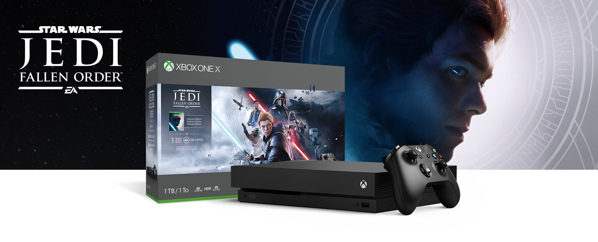Xbox One X Konsole vor einer Hardware Bundle-Box mit Star Wars Jedi: Fallen Order Deluxe Edition