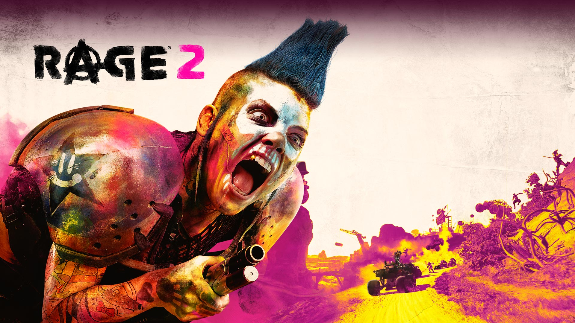 Rage 2, Closeup of a crazed gang member screaming with a battle occurring in the background.