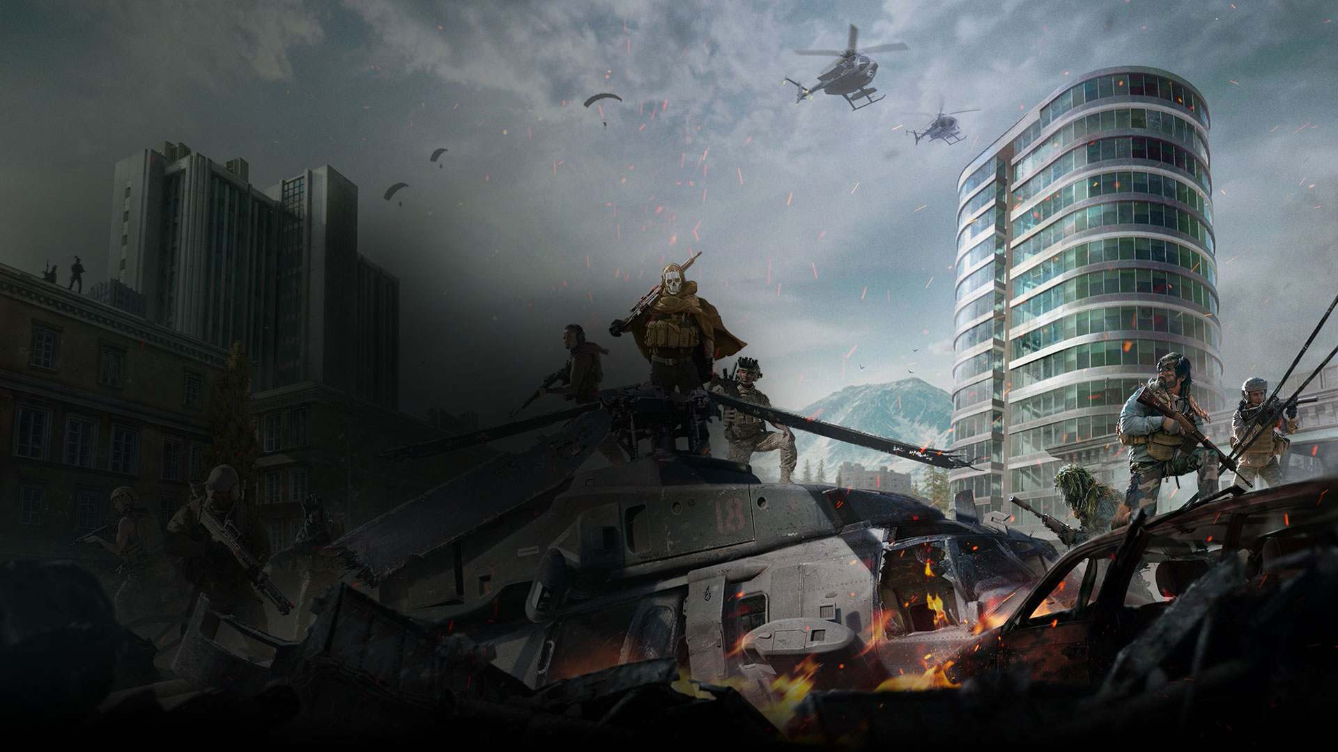 Call of Duty: Modern Warfare characters stand atop a tank in the middle of a war torn city.