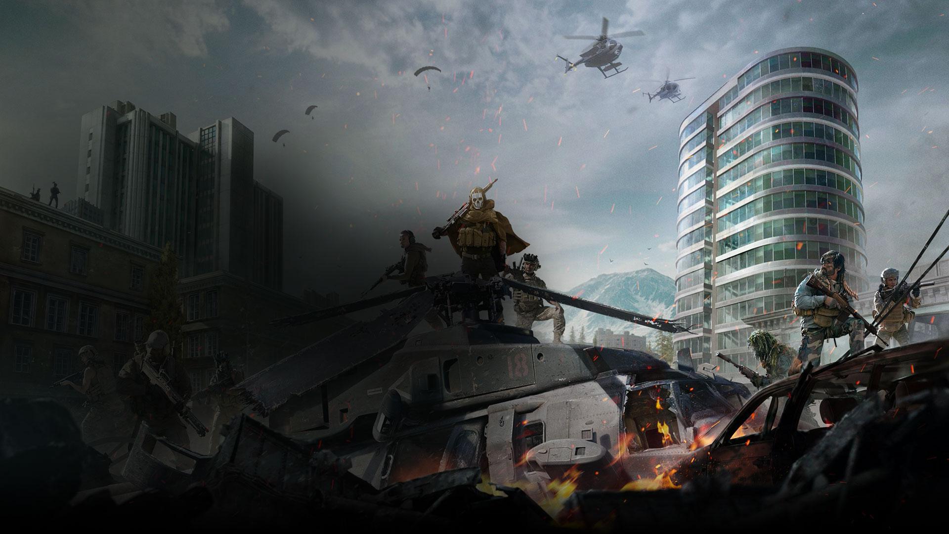 CallofDuty: Les personnages de Modern Warfare se tiennent sur un char au milieu d'une ville ravagée par la guerre.