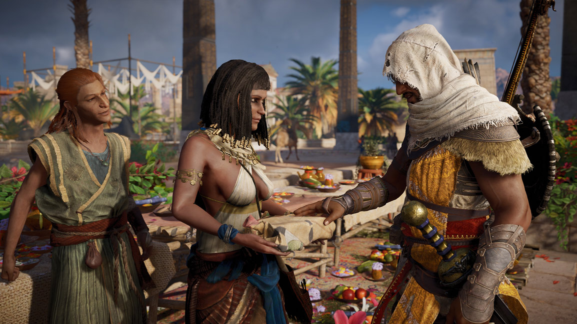 Two characters (Merti and Sutekh) hand Bayek a gift