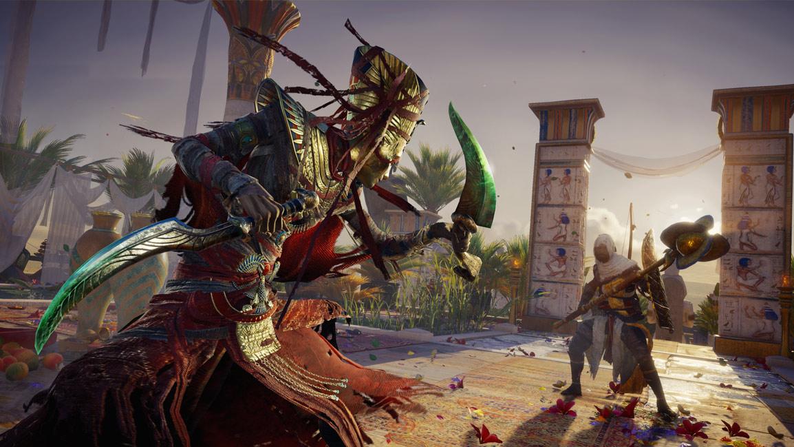 Bayek lucha contra una Nefertiti muerta viviente