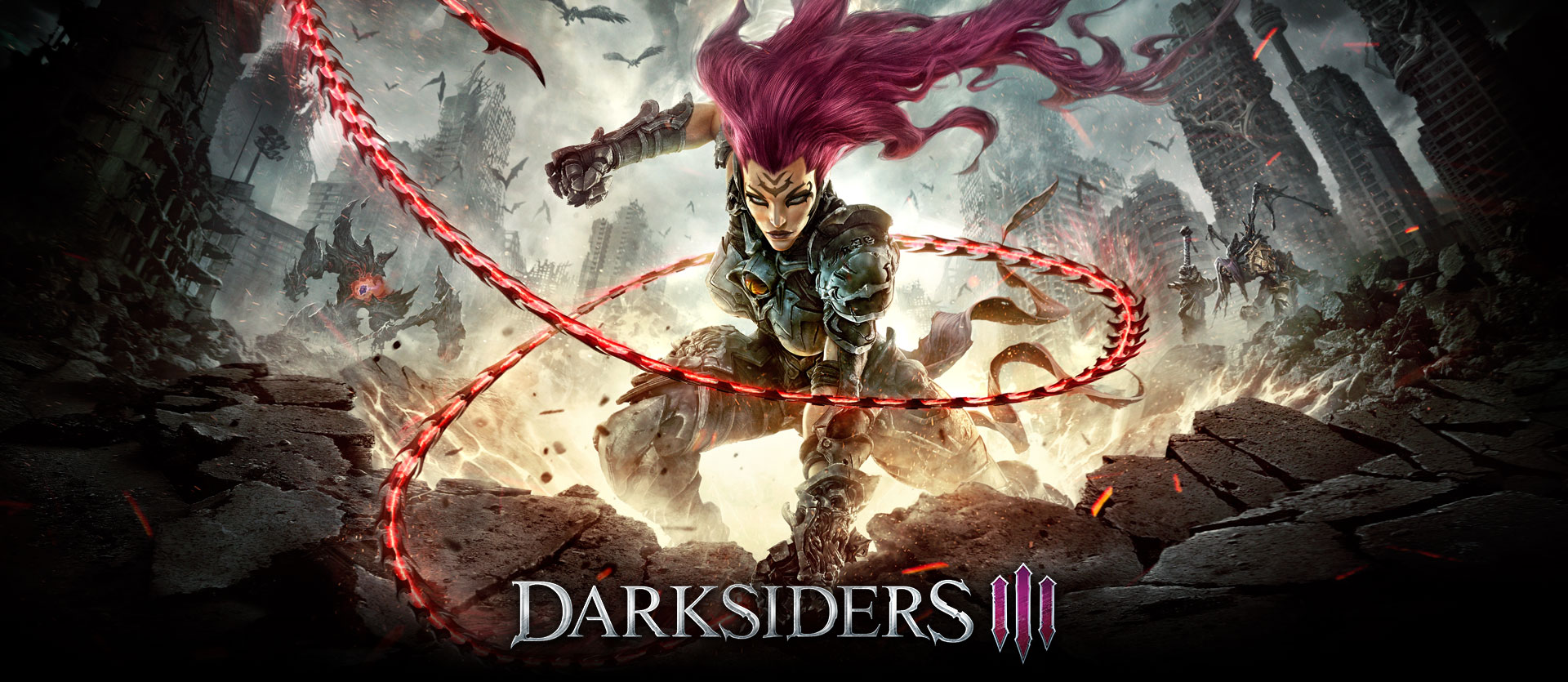 Darksiders III, fury unleashing her whip in a demolished city scape