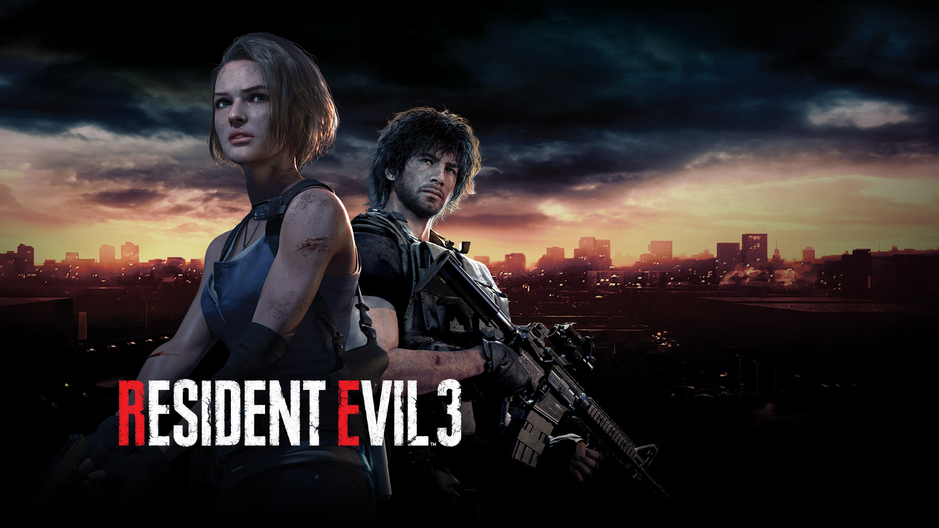 Resident Evil 3, Jill Valentine and Carlos stand in front of the Racoon City skyline