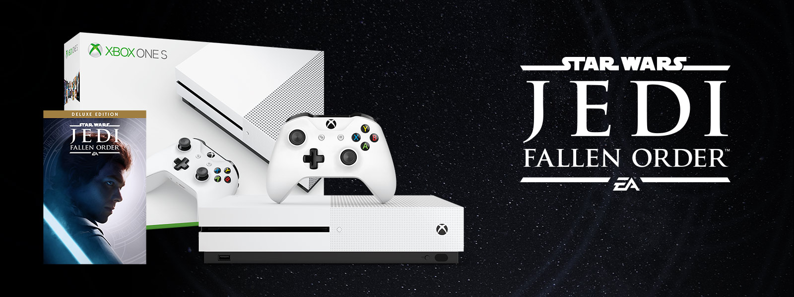 Xbox One S Star Wars Jedi: Fallen Order bundle art in front of mountains and a road with leaves
