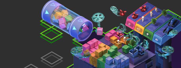 Ilustración de robots trabajando en una línea de producción de fabricación