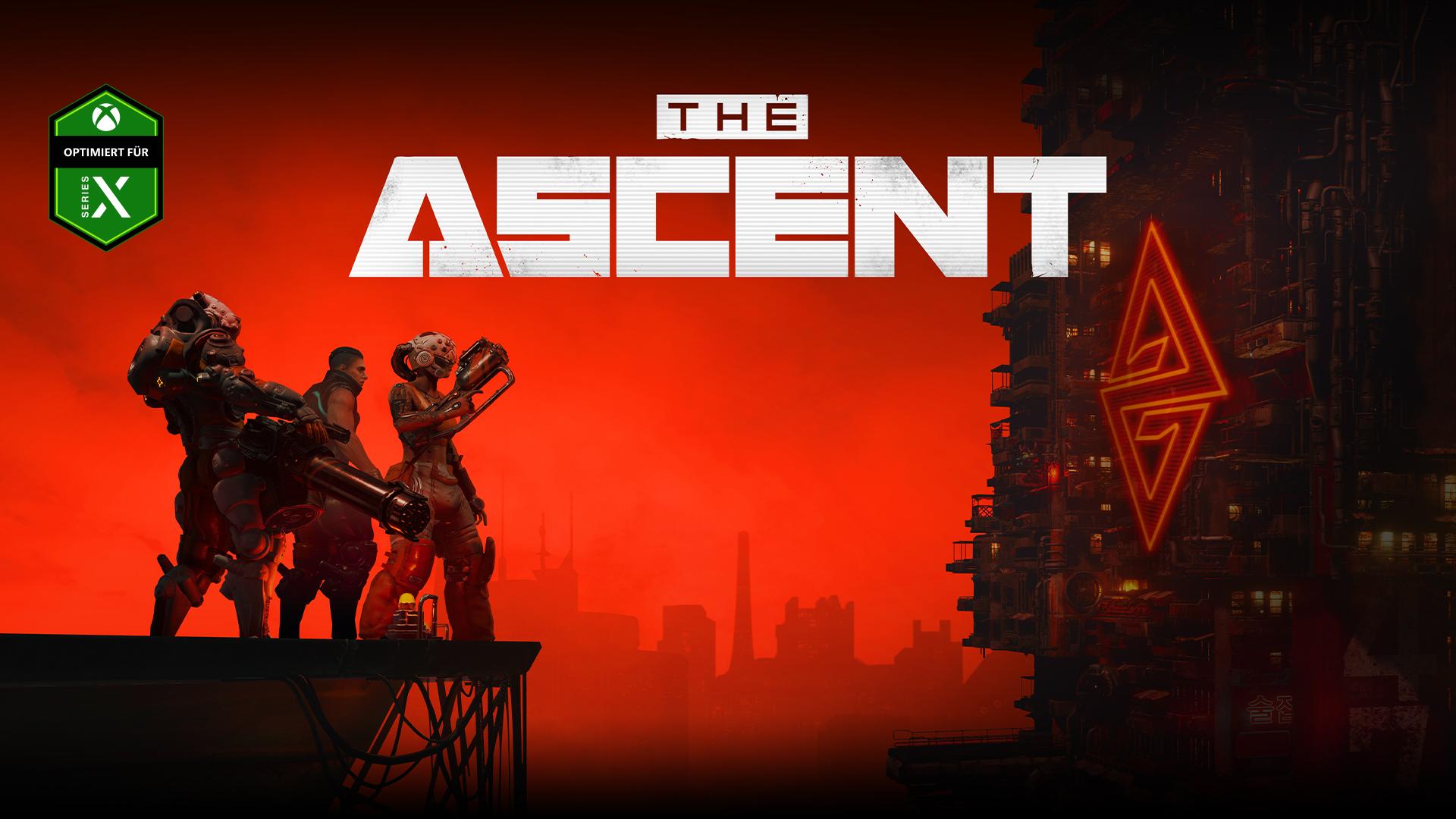 The Ascent, Optimiert für Xbox Series X. Drei Charaktere stehen auf einer Plattform mit Blick auf ein großes Industriegebäude im Cyberpunk-Stil.
