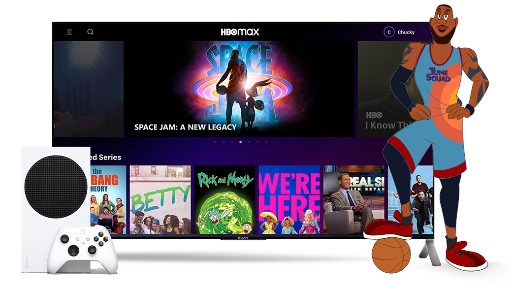 HBO Max home screen with an Xbox Series S, and cartoon LeBron