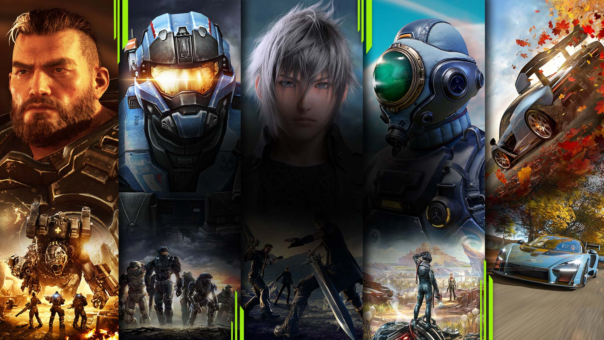 A montage of games available on Xbox Game Pass for PC, including Gears of War, Halo, Final Fantasy, The Outer Worlds, and Forza.