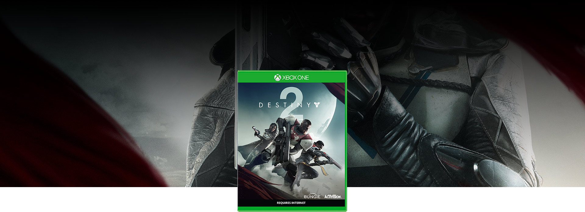 Destiny 2 boxshot, close up of guardian holding a hand cannon