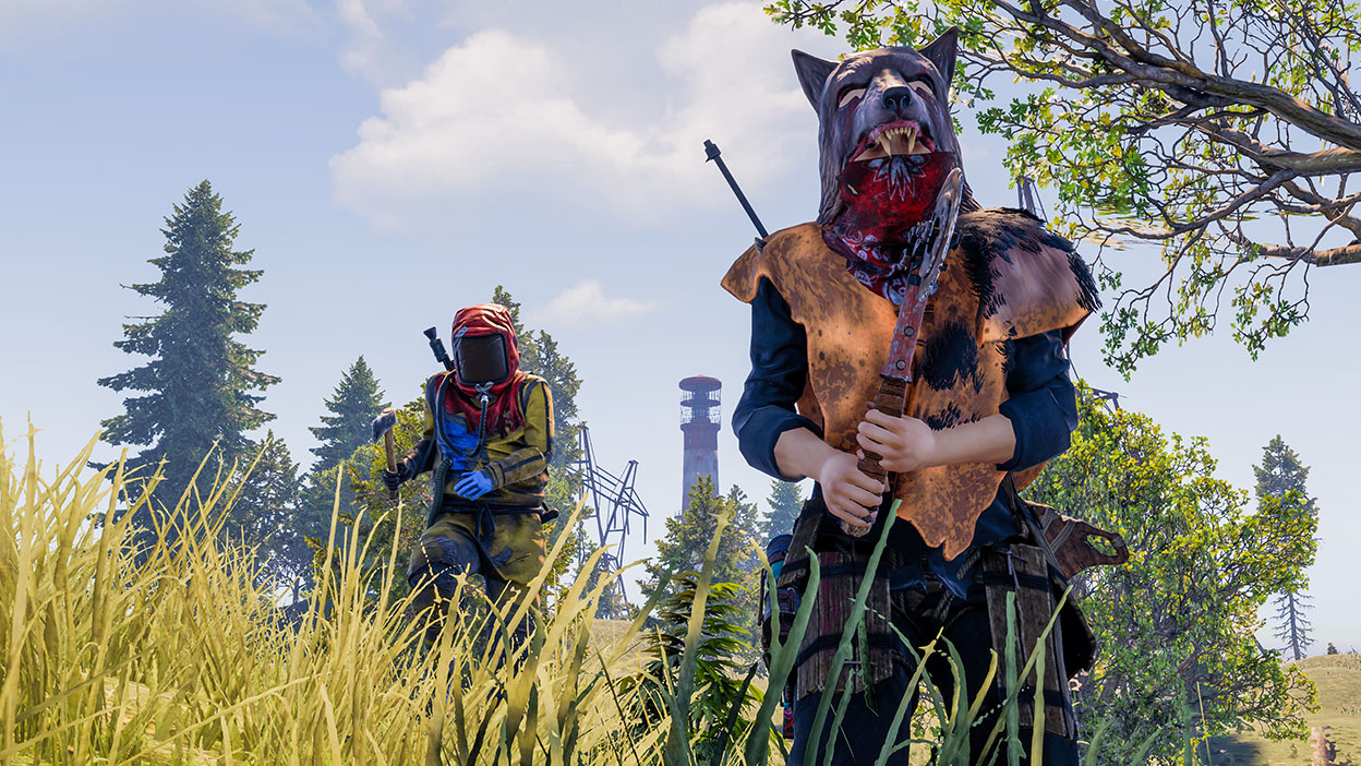 Two characters with masks and weapons in a grassy field