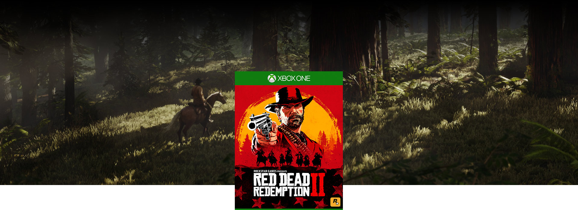 Red Dead Redemption 2 -pakkauksen kansikuva, taustalla hahmo ratsastaa hevosella metsässä