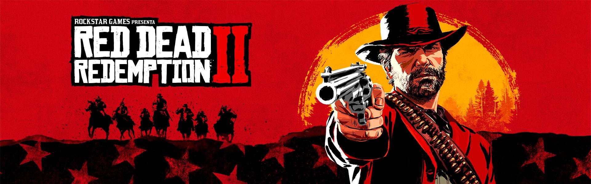 Rockstar Games presenta Red Dead Redemption 2, una representación artística de Arthur Morgan apuntando el revólver con una puesta de sol tras él
