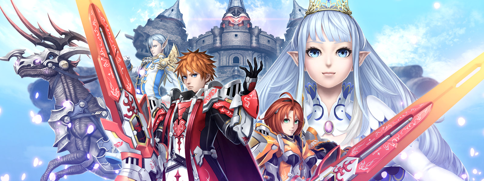 Collage of Phantasy Star Online 2 characters against a backdrop of blue sky over a castle.
