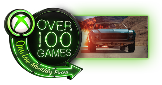 Xbox Game Pass logo with image of a car driving past an explosion