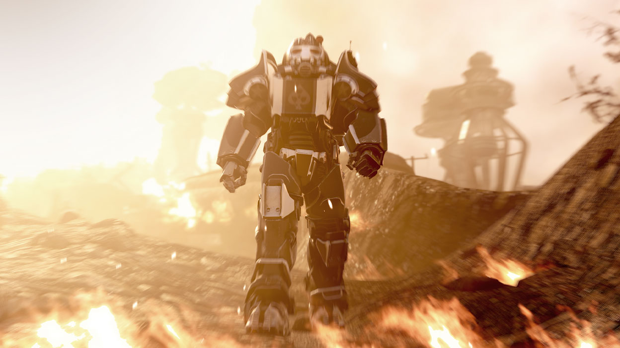 A character in fancy Power Armour walks toward flames