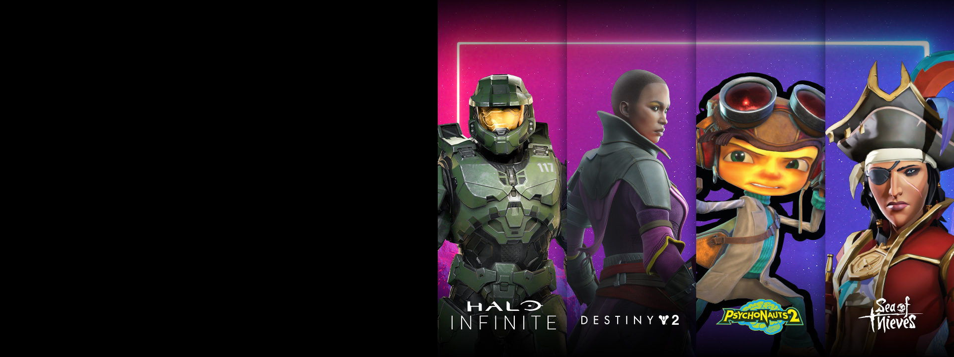 Lockup of characters from the exclusive partnership wallpapers: Master Chief in Halo Infinite, Ikora Rey in Destiny 2, Raz in Psychonauts 2, and Lesedi Singh in Sea of Thieves