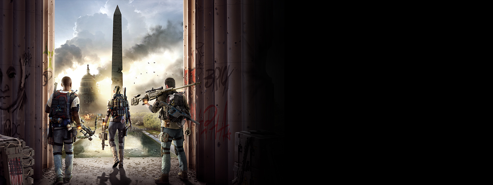 Three in-game Division 2 players looking on Washington D.C., which is smoking and clearly under attack