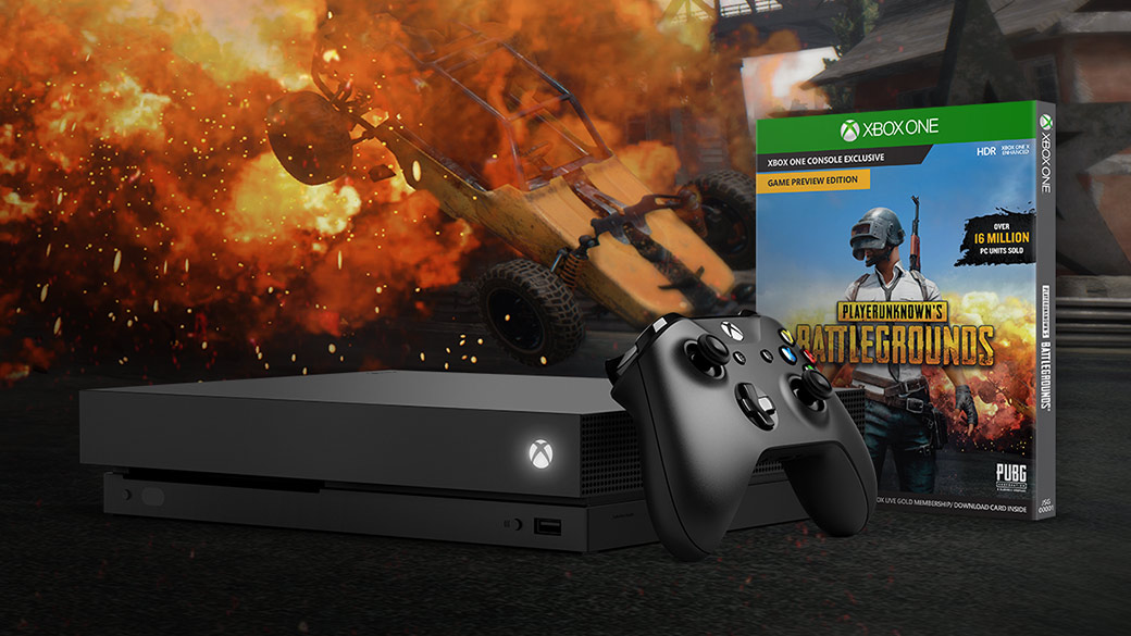 Front view Xbox One X and Xbox Wireless Controller with an PlayerUnknown Battleground's box shot