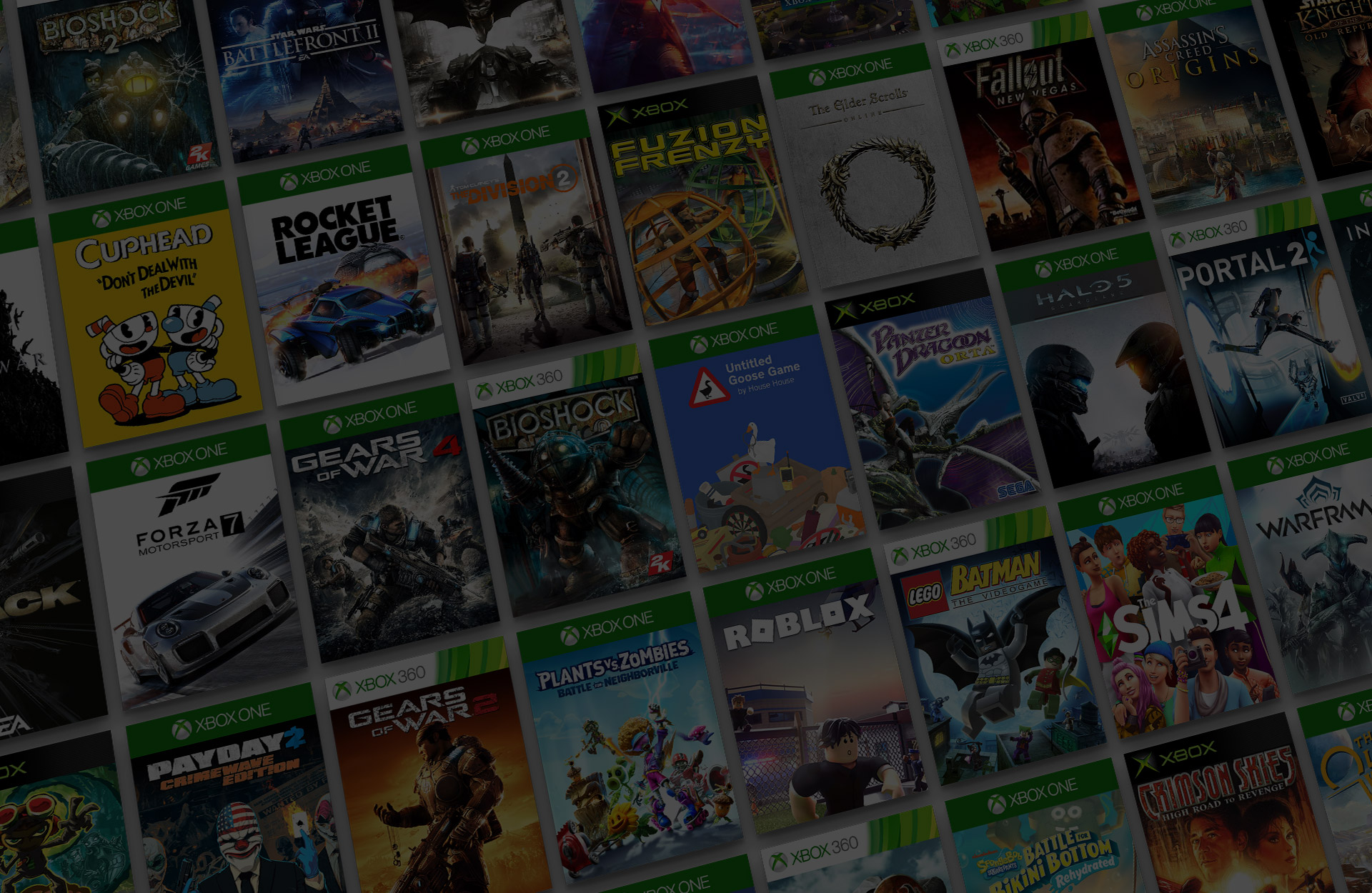 Mosaïque de titres de jeux Xbox rétrocompatibles