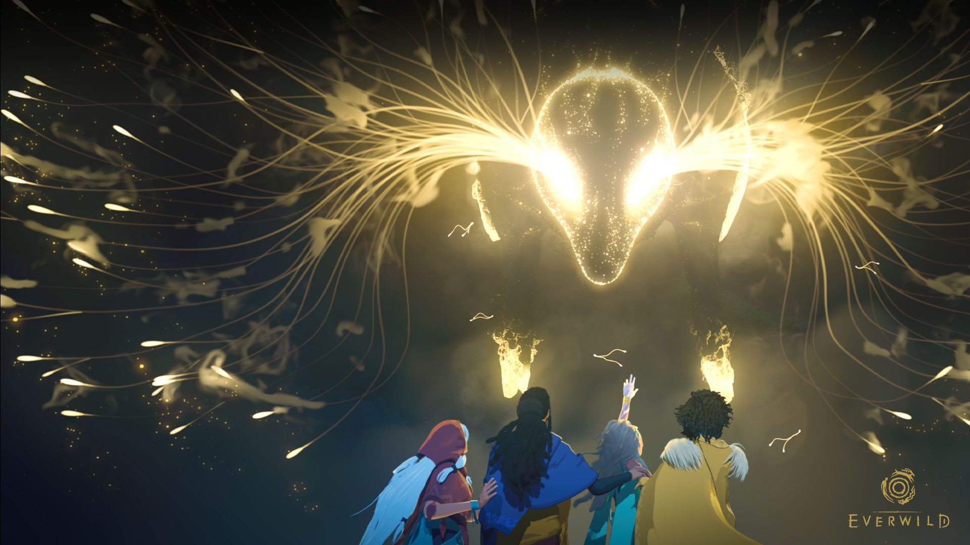 Everwild, a group of characters stand under a deer head made of light.