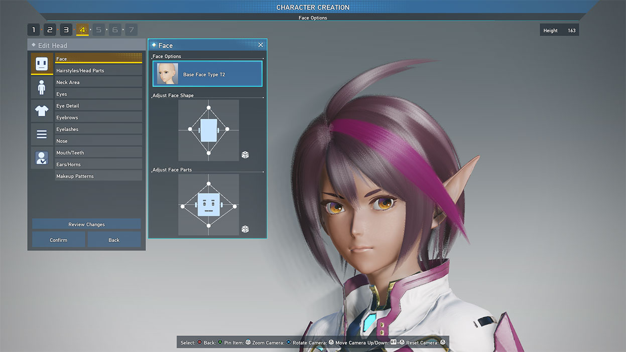 Character creation screenshot with elf character with purple hair