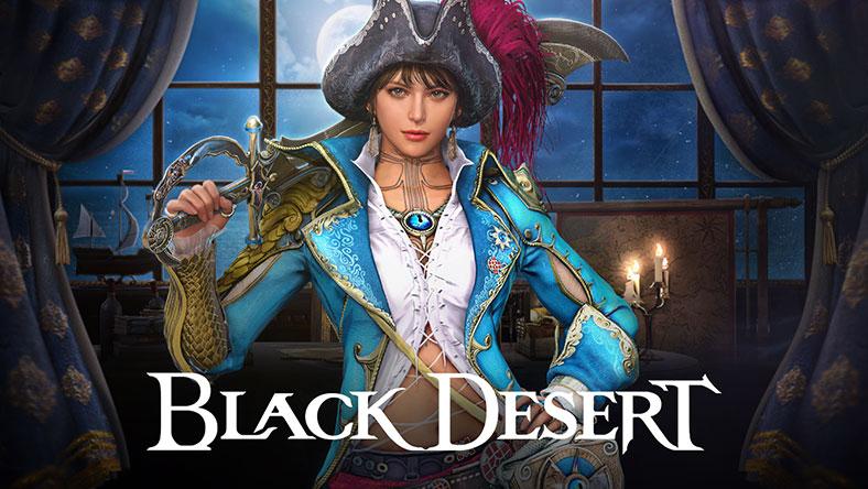 Black Desert, Female pirate holding sword and Black Desert logo