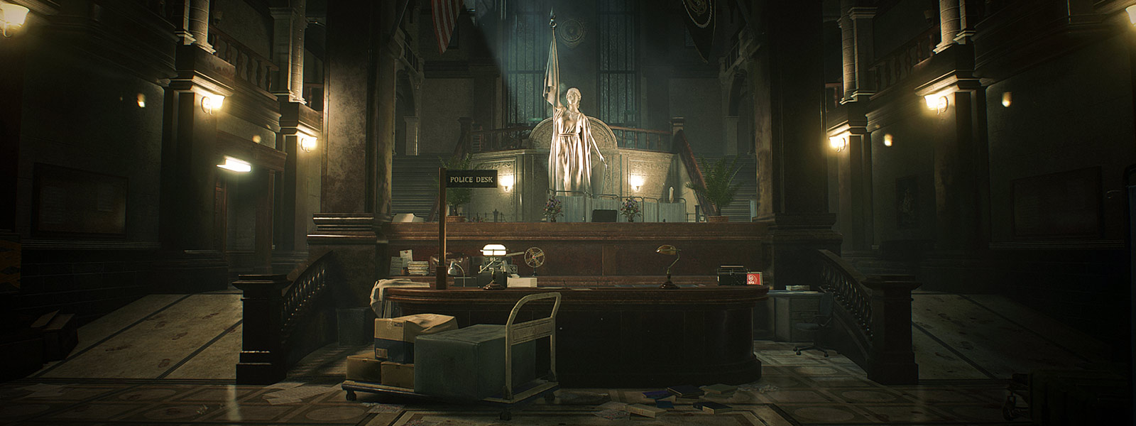 View of the front desk and statue inside the Raccoon City Police Station